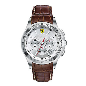 Ferrari men's stainless steel brown leather strap watch - Product number 1097539