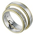 Commitment 9ct Two Colour Gold 1/10 Carat Diamond Ring Set - Product number 1101307