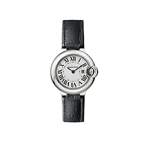 Cartier Ballon Bleu 28mm ladies' black leather strap watch - Product number 1107445
