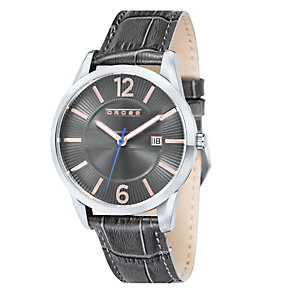 Cross Gotham Men's Grey Leather Strap Watch - Product number 1109200