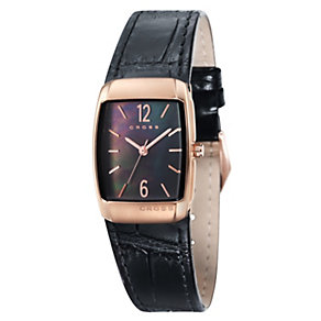 Cross Arial Ladies' Rose Gold Tone Black Leather Strap Watch - Product number 1109464