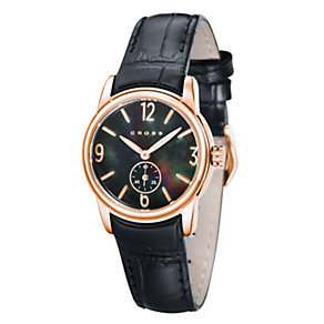 Cross Palatino Ladies' Rose Gold Tone Black Strap Watch - Product number 1109480