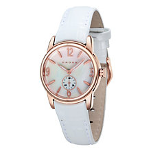 Cross Palatino Ladies' Rose Gold Tone White Strap Watch - Product number 1109499