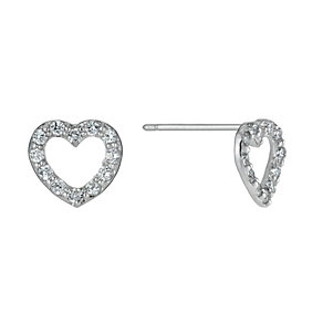 9ct White Gold Heart Cubic Zirconia Stud Earrings - Product number 1109588