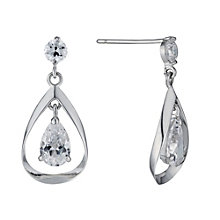 9ct White Gold Double Cubic Zirconia Drop Earrings - Product number 1109596