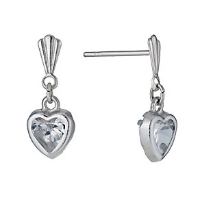 9ct White Gold Cubic Zirconia Heart Drop Earrings - Product number 1109634
