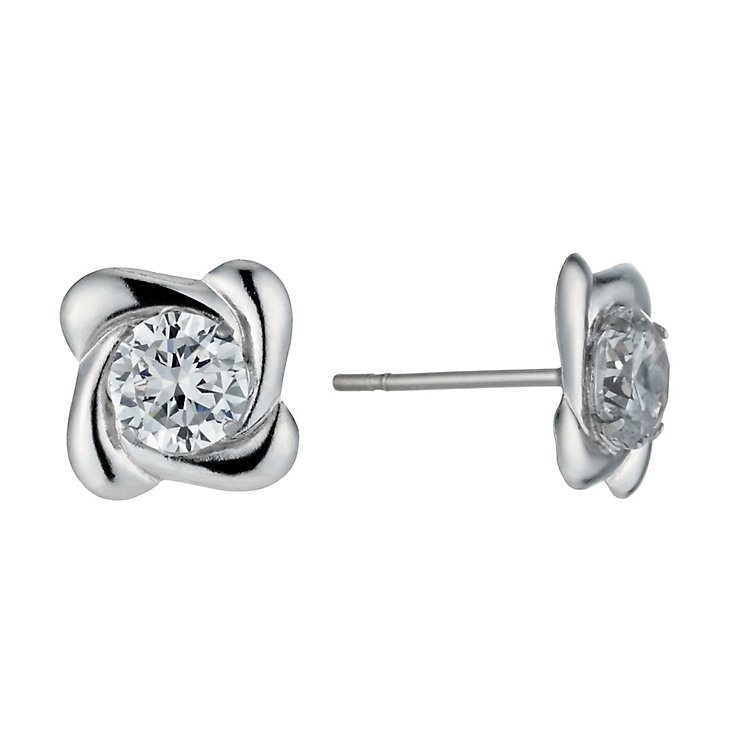 9ct White Gold 5mm Cubic Zirconia Swirl Stud Earrings - Product number 1109650