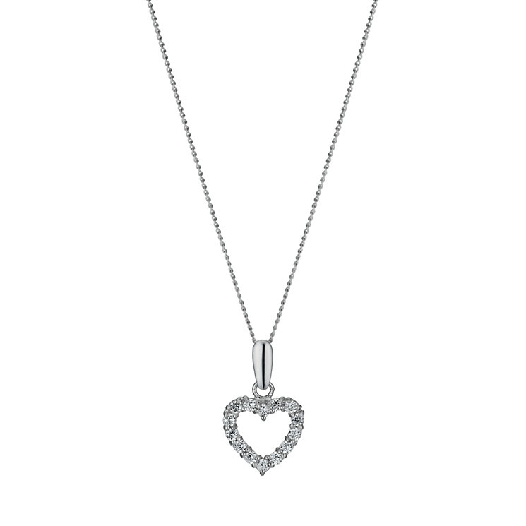 "9ct White Gold 18"" Cubic Zirconia Heart Pendant - Product number 1109936"