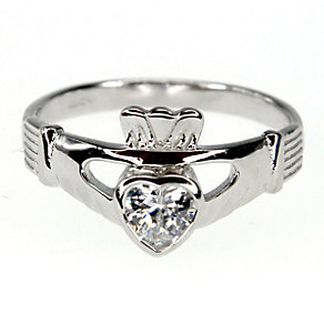 Cailin sterling silver cubic zirconia Claddagh ring - size O - Product number 1110012