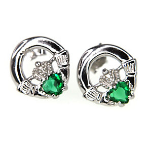 Cailin sterling silver cubic zirconia Claddagh earrings - Product number 1110152