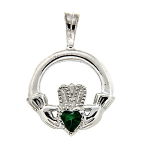 Cailin sterling silver green cubic zirconia Claddagh pendant - Product number 1110160
