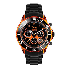 Ice-Watch Men's Big Black & Orange Silicone Strap Watch - Product number 1110594