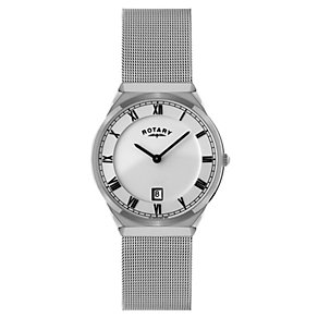 Rotary men's white dial stainless steel mesh bracelet watch - Product number 1110632