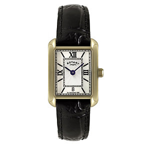 Rotary ladies' gold-plated rectangle black strap watch - Product number 1110675