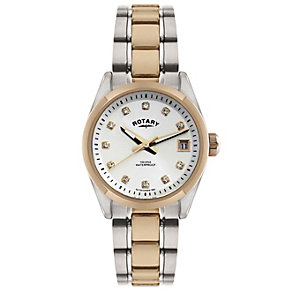 Rotary ladies' white dial crystal two colour bracelet watch - Product number 1110721