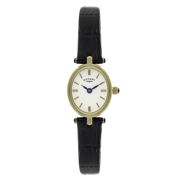 rotary ladies gold plated black leather strap watch