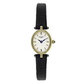 Rotary ladies gold-plated black leather strap watch - Product number 1110748
