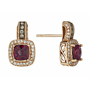 Le Vian 14ct Strawberry Gold 42pt diamond & garnet earrings - Product number 1113348