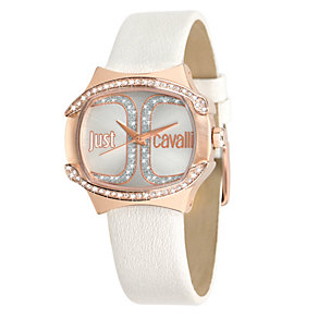 Just Cavalli Ladies' Rose Gold-Plated White Strap Watch - Product number 1114824