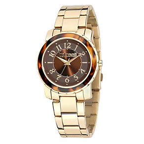 Just Cavalli Ladies' Tortoiseshell Gold-Plated Watch - Product number 1114875