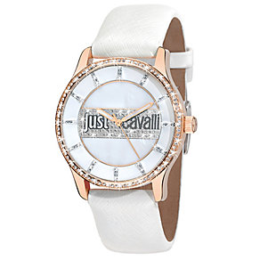 Just Cavalli Ladies' Rose Gold-Plated White Strap Watch - Product number 1115049