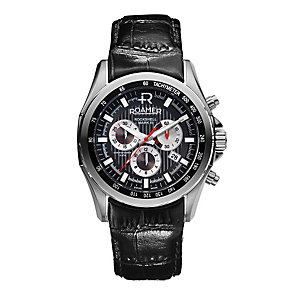 Roamer Rockshell men's stainless steel black strap watch - Product number 1120794