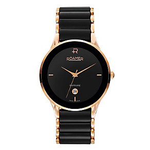 Roamer Ceraline men's black ceramic & rose gold-plated watch - Product number 1120816