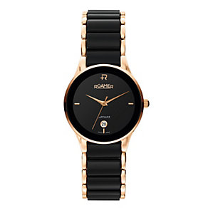 Roamer Ceraline ladies' black & rose gold-plated watch - Product number 1120824