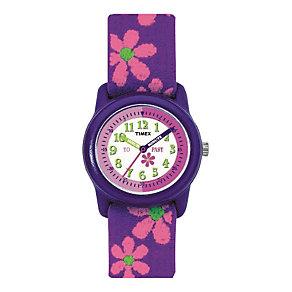 Timex Teacher Girls' Flower Fabric Strap Watch - Product number 1120891