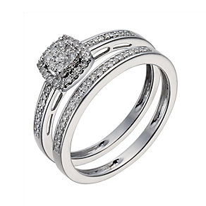 9ct white gold 0.25ct diamond cushion cluster bridal set - Product number 1126091