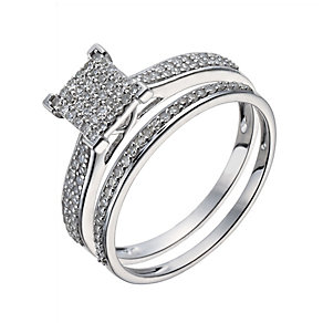 9ct white gold 0.33ct diamond square cluster bridal set - Product number 1126369