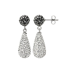 Tresor Paris white & grey crystal pear drop earrings - Product number 1126830