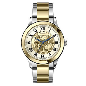 Rotary Men's Skeleton Dial Two Tone Bracelet Watch - Product number 1127179