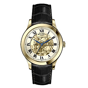 Rotary Men's Skeleton Dial Black Leather Strap Watch - Product number 1127357