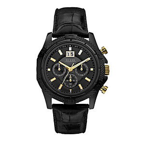 Guess Men's Gold-Plated Black Leather Strap Watch - Product number 1127810