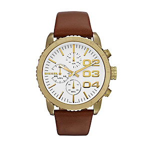 Diesel Ladies' Gold Tone Brown Leather Strap Watch - Product number 1131427