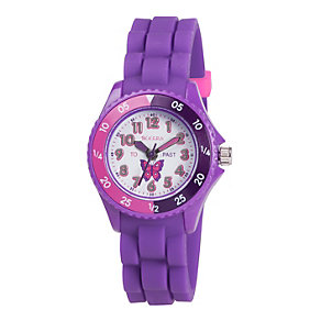 Tikkers Children's Purple Butterfly Silicone Strap Watch - Product number 1133551