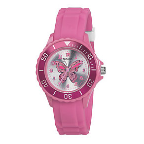 Tikkers Children's Pink Butterfly Silicone Strap Watch - Product number 1133586
