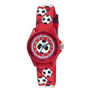 Tikkers Children's Red Football Silicone Strap Watch - Product number 1133624