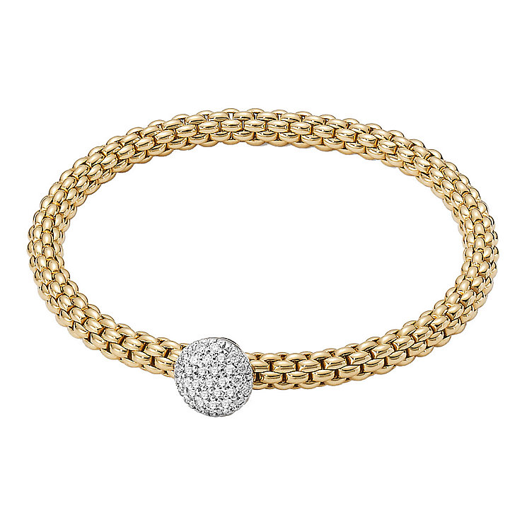 Fope Flex' It Solo 18ct yellow & white gold diamond bracelet - Product number 1134604