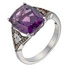 Badgley Mischka silver champagne diamond & amethyst ring - Product number 1140825