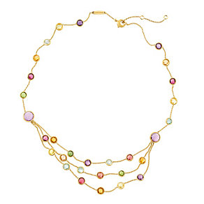 Marco Bicego Jaipur 18ct gold 3 row mix stone necklace - Product number 1142909