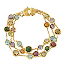 Marco Bicego Jaipur 18ct gold 3 row mix stone bracelet - Product number 1142917