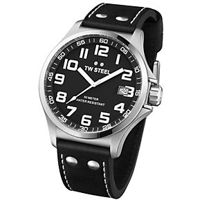 TW Steel Pilot men's stainless steel black strap watch - Product number 1149326