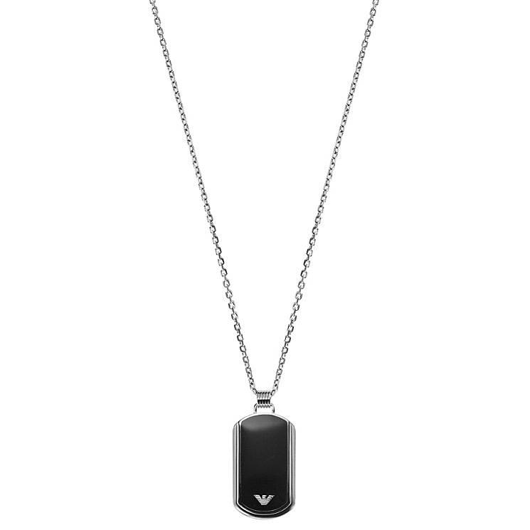 Emporio Armani Men's Stainless Steel Black Enamel Dog Tag - Product number 1149415