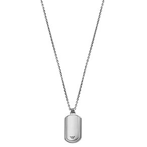 Emporio Armani men's stainless steel stripe dog tag - Product number 1149431