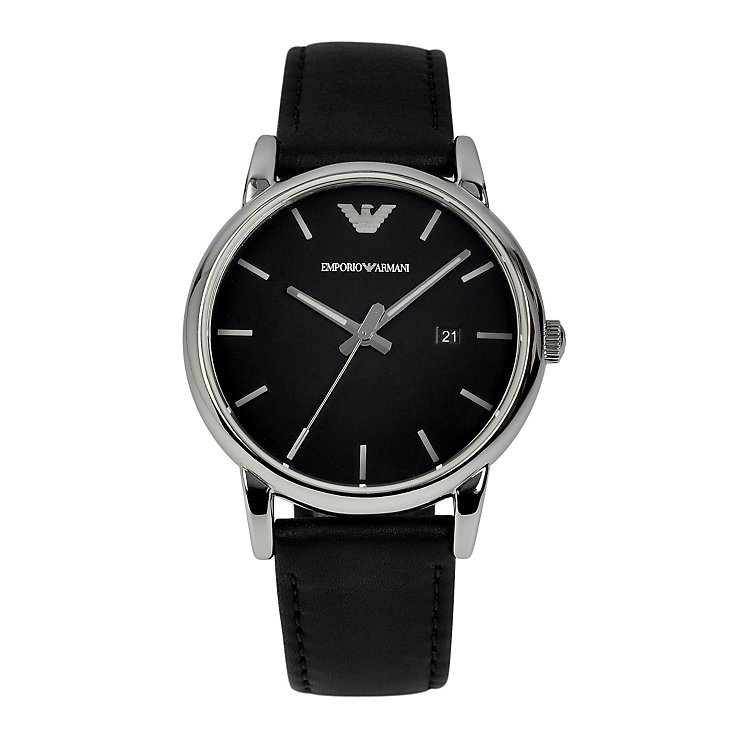 armani watches emporio armani designer watches ernest jones emporio armani men s stainless steel black strap watch product number 1149474