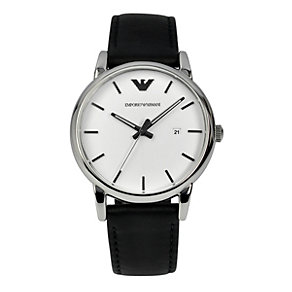 Emporio Armani men's stainless steel & black strap watch - Product number 1149482
