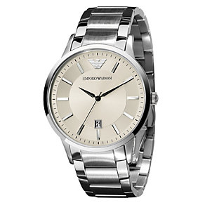 Emporio Armani men's cream stainless steel bracelet watch - Product number 1149504