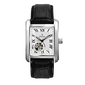 Bulova Men's Automatic Steel Black Leather Strap Watch - Product number 1149709